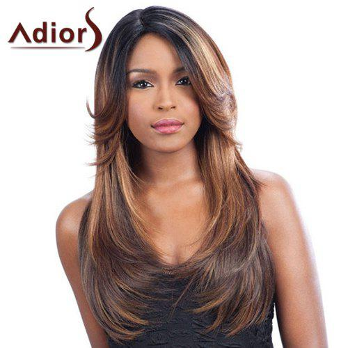 Fluffy Straight Black Ombre Brown Noble Long Side Parting Synthetic Wig For Women, Colormix