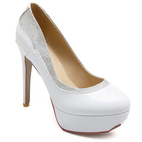 Stylish Patent Leather and Colour Block Design Women's Pumps - WHITE 37