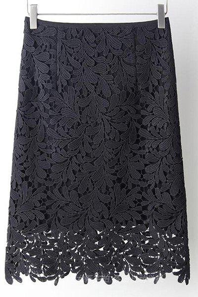 Elegant High Waist Cut Out Solid Color Lace Skirt For Women - BLACK 3XL