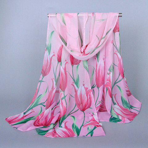 Chic Tulip Pattern Chiffon Scarf For Women - PINK