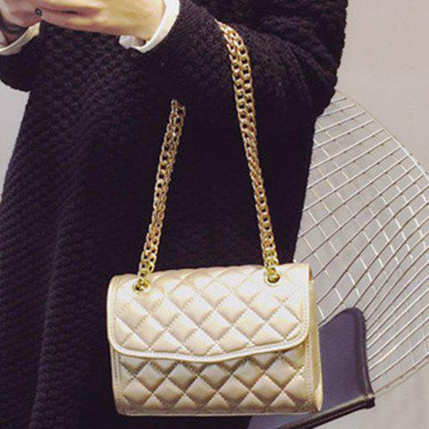Trendy Checked and Chains Design Women's Crossbody Bag - GOLDEN