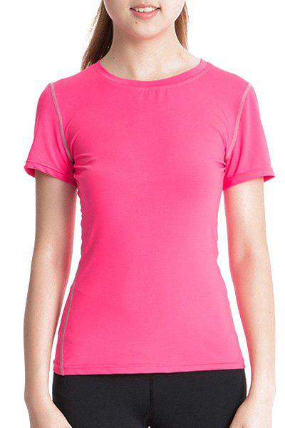 Sweatshirt simple col rond manches courtes skinny femmes - Rose S