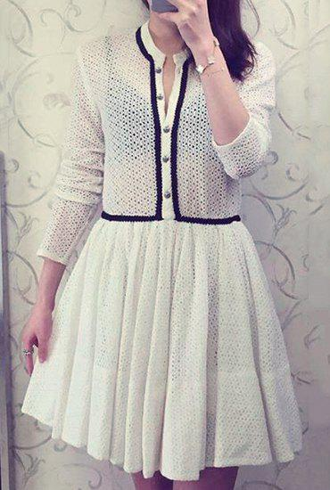 Sweet Round Neck Long Sleeve Hollow Out Flare Dress For Women