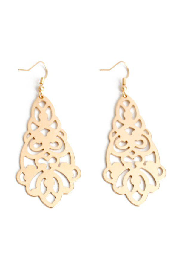 Pair of Flower Hollow Out Earrings - GOLDEN