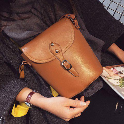 Laconic Buckle and Solid Color Design Women's Crossbody Bag - BROWN