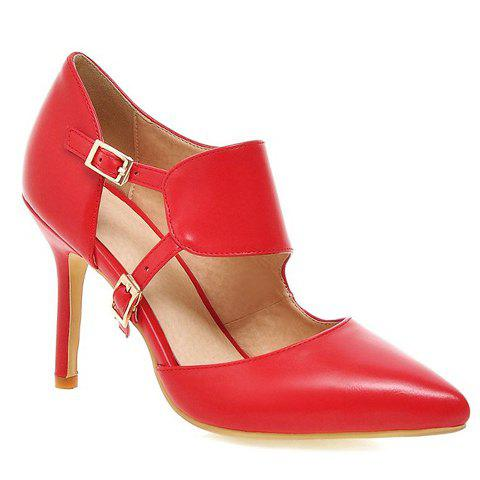 Fashionable Pointed Toe and Double Buckle Design Women's Pumps - RED 38