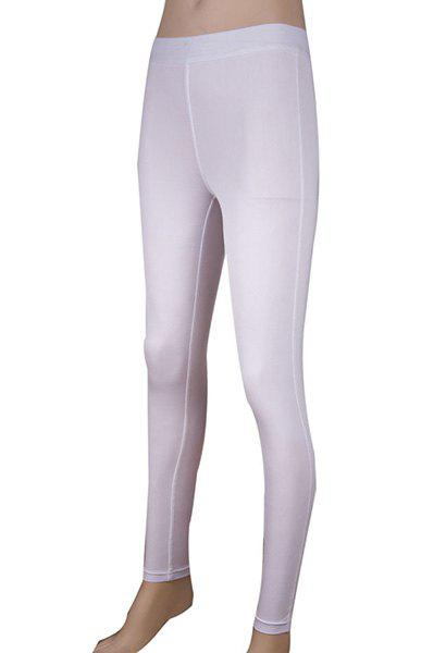 Simple Elasitc Waist Fitted Solid Color  Women's Pants - L WHITE