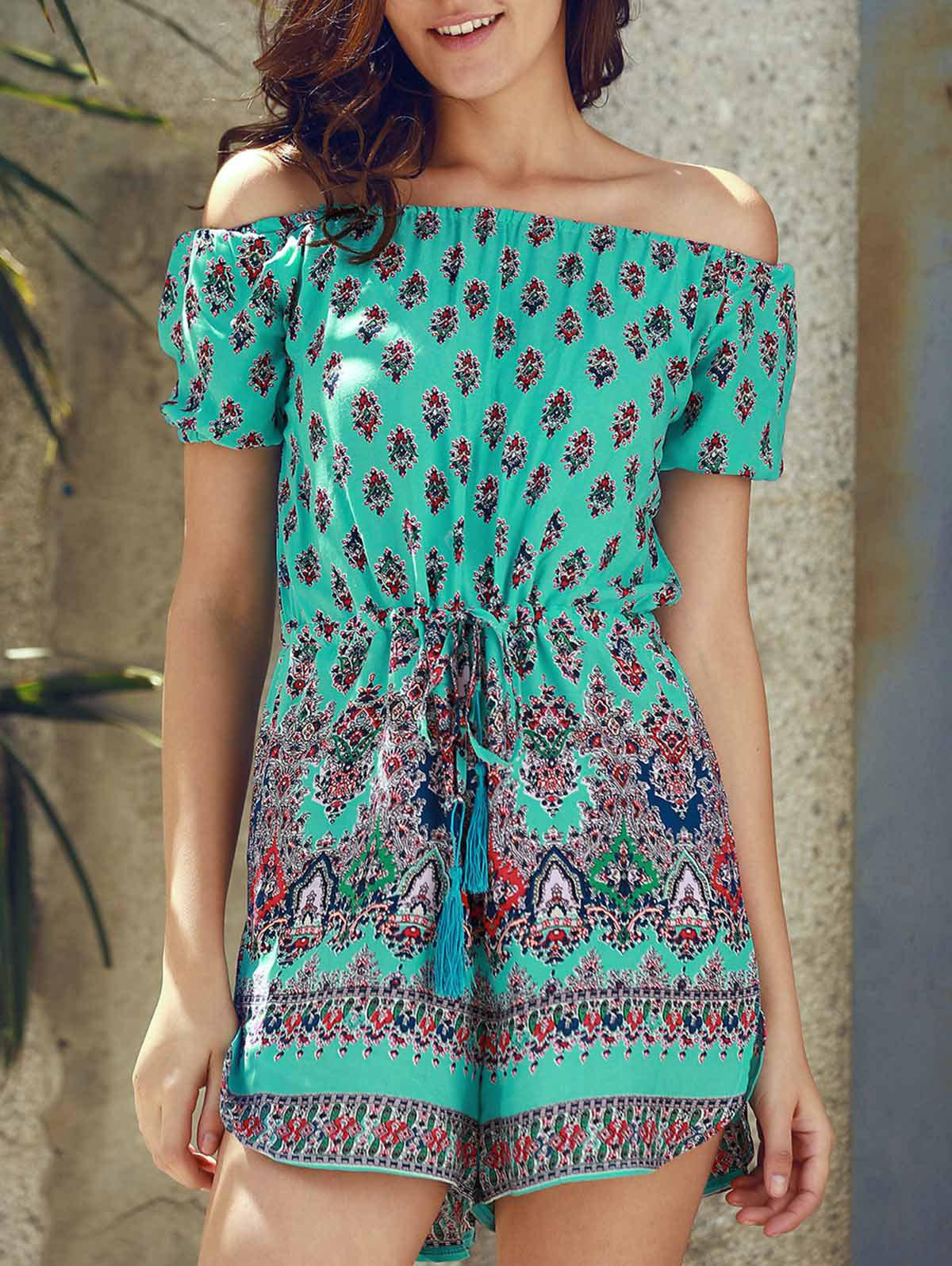 Stylish Women's Off The Shoulder Floral Print Short Sleeve Romper - GREEN S