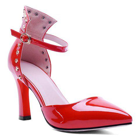 Graceful Patent Leather and Pointed Toe Design Pumps For Women - RED 38