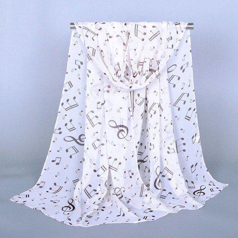 Chic Musical Notes Pattern Women's Chiffon Scarf stylish musical notes pattern chiffon scarf for women
