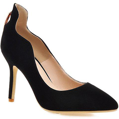 Stylish Metal and Hollow Out Design Women's Pumps - BLACK 38