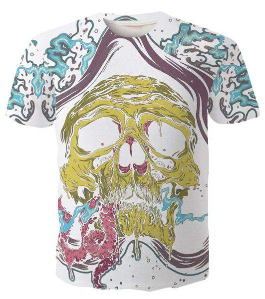 Stylish Round Neck Abstract Skull Pattern Short Sleeve Men's T-Shirt - COLORMIX 2XL