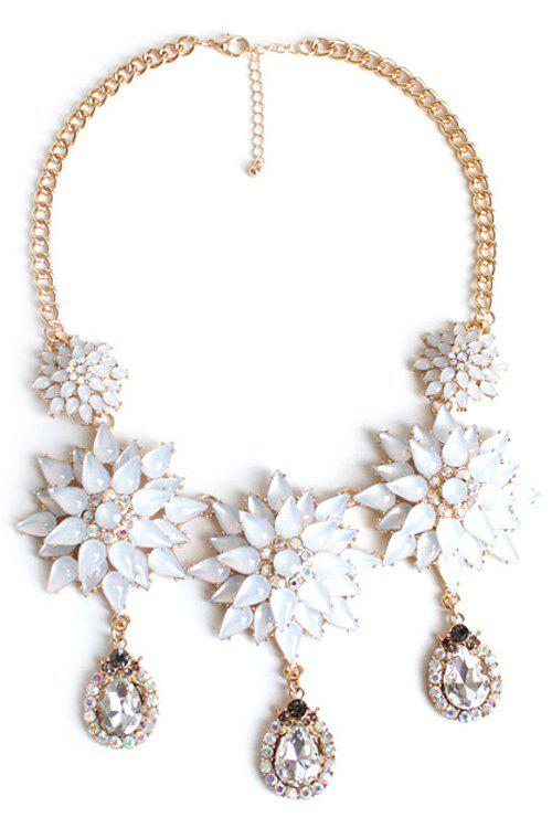 Exquisite Floral Pendant Necklace For Women - WHITE