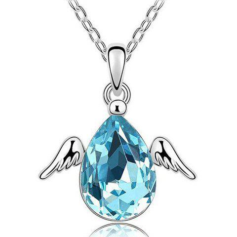 Water Drop Faux Crystal Angel Necklace - SILVER