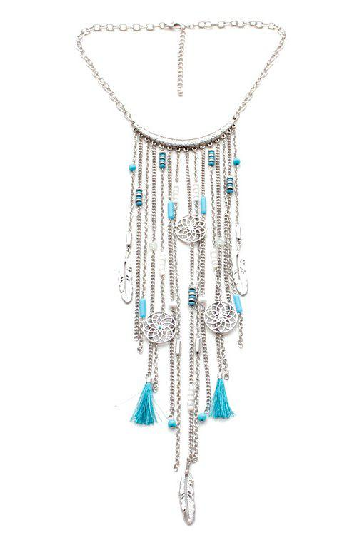 Retro Ethnic Style Link Chain Tassel Necklace For Women