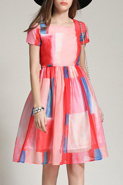 Graceful Round Neck Short Sleeve Colored A-Line Women's Dress - WATERMELON RED M