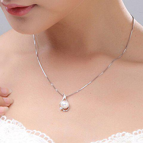 Charming Rhinestone Faux Pearl Pendant Necklace For Women