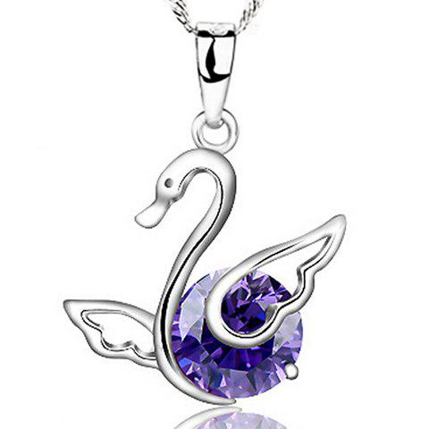 Stunning Faux Amethyst Swan Pendant Necklace For Women
