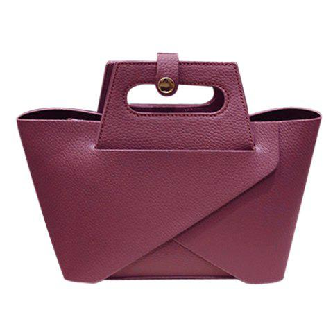 Concise Solid Color and Embossing Design Women's Tote Bag - PURPLISH RED
