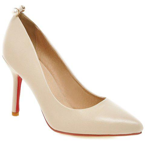 Trendy Pointed Toe and Faux Pearls Design Women's Pumps - BEIGE 38