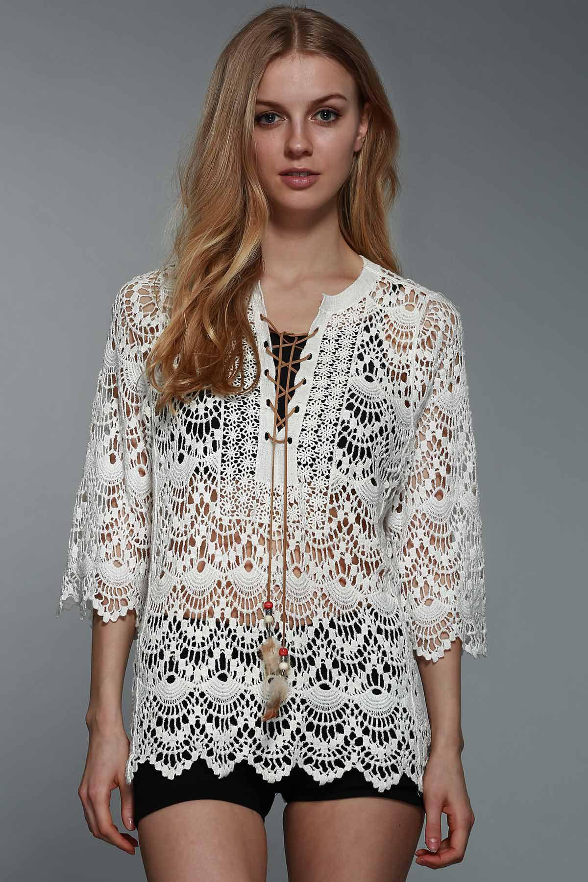 Graceful Round Collar 3/4 Sleeve Hollow Out Lace-Up Crochet Women's White Blouse