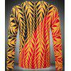 Slim Fit Round Collar Pullover Long Sleeves Geometric Pattern Sweater For Men - YELLOW L
