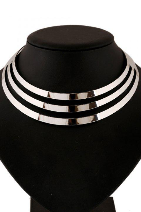 Statement Mirror Side Multilayered Necklace - SILVER