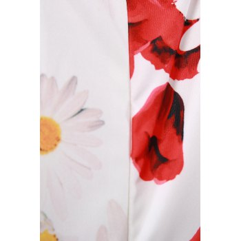 Elegant Jewel Neck Sleeveless Flower Pattern Sheathy Women's Prom Dress - RED/WHITE S