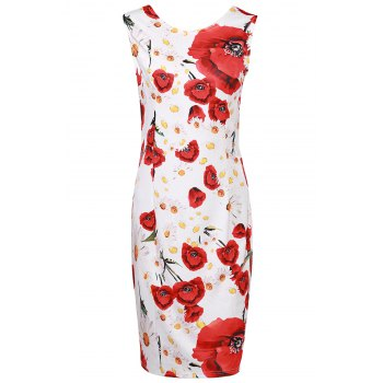 Elegant Jewel Neck Sleeveless Flower Pattern Sheathy Women's Prom Dress
