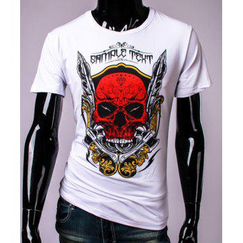 3D Axe Feather and Skull Print Round Neck Short Sleeve Men's T-Shirt