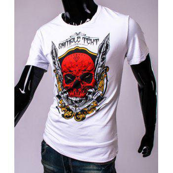 3D Axe Feather and Skull Print Round Neck Short Sleeve Men's T-Shirt - WHITE XL