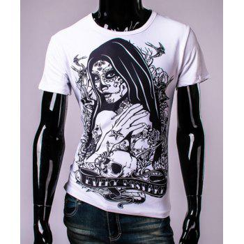 3D Tatto Girl and Skull Print Round Neck Short Sleeve Men's T-Shirt