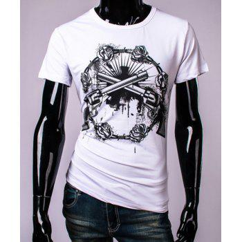3D Guns and Roses Print Round Neck Short Sleeve Men's T-Shirt