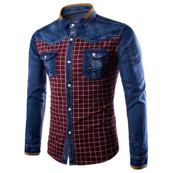 Turn-Down Collar Long Sleeve Denim Splicing Checked Design Men's Shirt