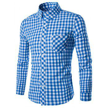 Turn-Down Collar Long Sleeve Slimming Checked Button-Down Men's Shirt