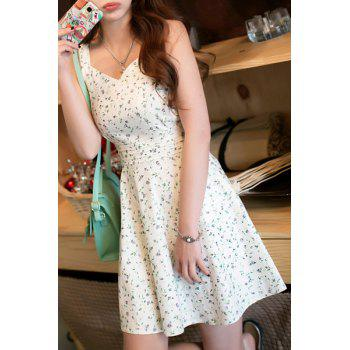V Neck Sleeveless Tiny Floral Print Mini Dress