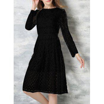 Ladylike Round Neck Long Sleeve Hollow Out Solid Color Women's Dress - BLACK L