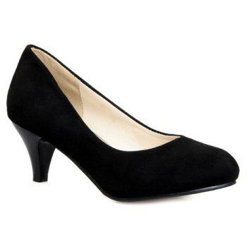 Trendy Cone Heel and Suede Design Women's Pumps - BLACK 37