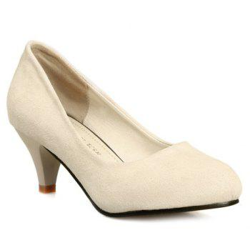 Trendy Cone Heel and Suede Design Women's Pumps - BEIGE 36