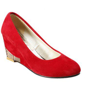 Stylish Solid Colour and Flock Design Women's Wedge Shoes - RED RED