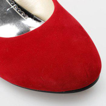 Stylish Solid Colour and Flock Design Women's Wedge Shoes - 39 39