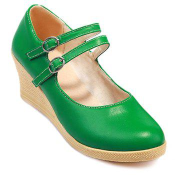 Casual Platform and Double Buckle Design Women's Wedge Shoes - GREEN GREEN