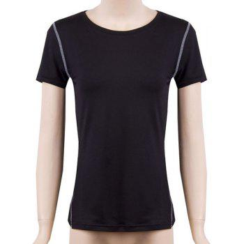 Stylish Round Neck Fitted Quick-Dry Women's Activewear Suit - BLACK BLACK