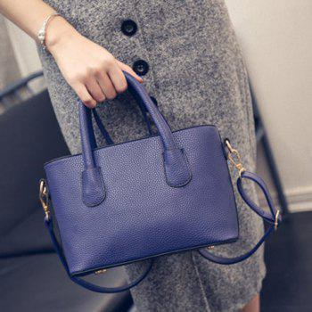 Stylish Metal and Solid Color Design Women's Tote Bag - BLUE