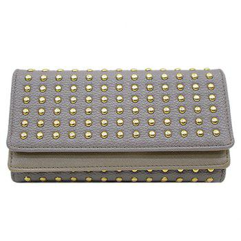 Trendy Rivets and Solid Color Design Women's Wallet - GRAY GRAY