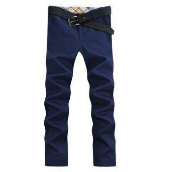 Brief Elegant Straight Leg Solid Color Patch Pocket Zipper Fly Men's Pants