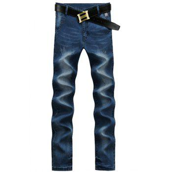 Straight Leg Bleach Wash Cat's Whisker Design Zipper Fly Men's Jeans