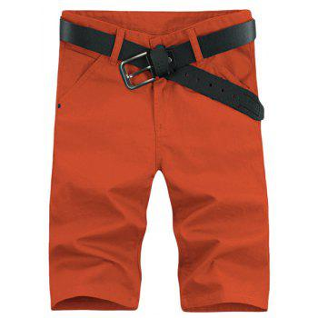 Laconic Style Straight Leg Solid Color Zipper Fly Men's Shorts - ORANGE 36