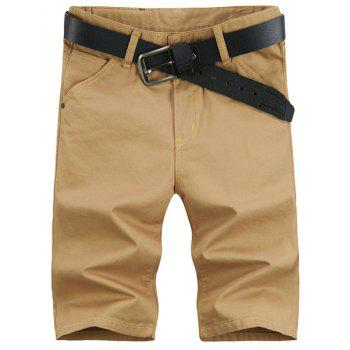 Laconic Style Straight Leg Solid Color Zipper Fly Men's Shorts - KHAKI KHAKI
