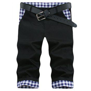 Modish Straight Leg Plaid Print Splicing Zipper Fly Men's Shorts - BLACK 31
